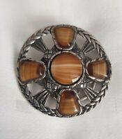 Vintage Scottish silver 925 Polished banded caramel Agate Celtic Scarf Ring Clip