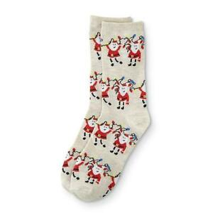 Holiday Novelty Crew Socks Women's Shoe Size 4-10 Tan Santa Lights  1 Pair NEW