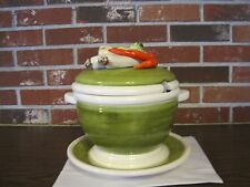 GREEN AND WHITE CERAMIC / PORCELAIN SOUP TUREEN AND PLATE