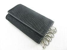 Genuine Shark Skin Keychain Key Chain Holder Ring Trifold Wallet Black Free Ship