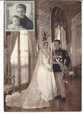 PRINCESS GRACE KELLY of Monaco - postcard FULL WEDDING DRESS - stamp Caroline