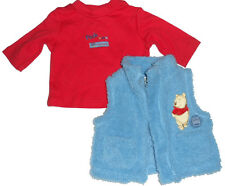 Size 000 - Disney Pooh Bear Soft Fluffy Baby Boys Vest and Tee Shirt Set | NEW