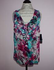 NWT Womens AK Anne Klein Stretch Sleeveless Multi-Color Blouse Top Size XL