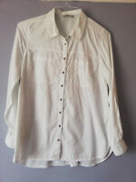 GEORGE WOMENS WHITE SHIRT BLOUSE TOP LONG ROLL TAB SLEEVE SIZE 12 COTTON POCKETS