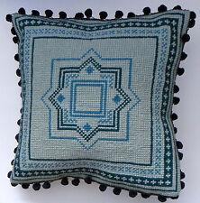 Blue Geometric Square pattern tapestry cross stitch cushion kit by Florashell