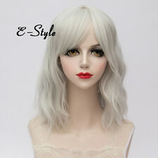 BSFashion Silver White Curly Lolita Cosplay Heat Resistant 35CM Medium Girls Wig