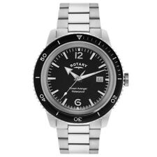 Rotary Mens Timepieces Ocean Avenger Black Silver Steel Watch RRP £185