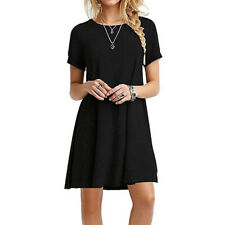 Women Ladies Party Short Sleeve Casual Loose Sundress Tops Mini T-shirt Dress