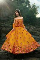 Naranja Festivo Boda India Lehenga Choli Fiesta Étnico Danza Eid Lengha Choli