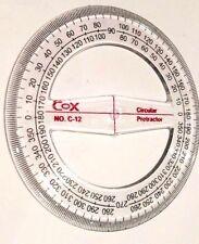 Cox circulaire rapporteur 360 degrés 12CM en plastique transparent