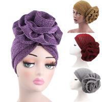 Elegant Flower Glitter Turban Hat Muslim Indian Cap Women Head Wrap Headwear JH