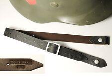 """JUGULAIRE CASQUE ALLEMAND WW2 """"FRANZ MULLER 1941"""" cuir brun"""