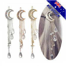 18K Gold Plated Moon Crystal Tassel Water Drop Dangle Hair Clip Accessories