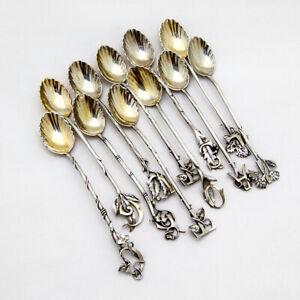 Figural Foliate Letter 11 Demitasse Spoons Set Gorham Sterling 1880