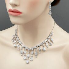 White Gold Plated Zirconia CZ Necklace Earrings Bridal Wedding Jewelry Set 05289