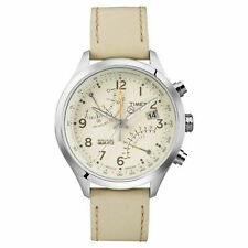 New Timex Women's IA Fly Back Watch T2P382 Cream Leather Strap