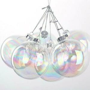 Clear Iridescent Glass Ball Fillable Baubles Christmas Wedding Tree Hanging