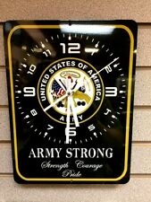 """United States Army Strong Usa Pride Military Aluminum 9"""" x 12"""" Sign Clock"""