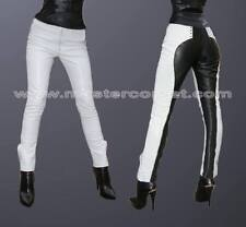 GENUINE LEATHER PANT  BLACK AND white Lederhose lederen broek Pantalon en cuir