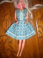"""Vintage 1960's Blue White Floral Sleeveless A line Dress Fits 12"""" Doll"""
