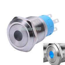 19mm Momentary Push Button Switch 1NO1NC Waterproof 12V Blue Dot Illuminated LED