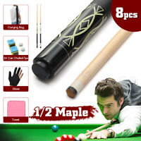 8PCS 1/2 Handmade Maple Wood 57'' Snooker Pool Cue Set w/ Cover Bag Glove Chalk