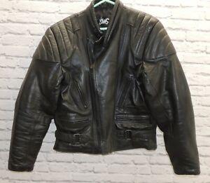 STIMS - Black Leather Motorcycle Jacket-  46 - Size XL - Thames Hospice