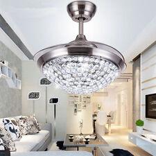 Crystal LED Invisible Pendant Ceiling Fan Light Fan Chandelier Lamp Illuminator