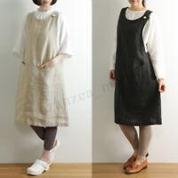 Women Sleeveless Cotton Linen Baggy Pinafore Dungraee Dress Ladies Tank Dresses