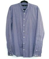 Calibre Men's Long Sleeve Blue Shirt Red Diamond Check Oriental Collar Size M