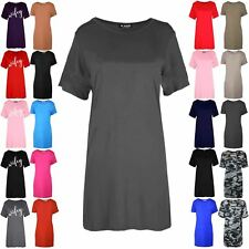 Womens Ladies Plain Baggy Round Neck Oversized Long Tunic Tee Shirt Mini Dress