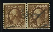 US, Scott 446  Coil Pair 4 cent Brown Used