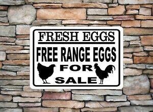 Fresh Eggs Free-Range Eggs For Sale Rooster Chicken Decor Aluminum Metal Sign