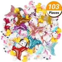 103pcs Slime Charms with Mermaid Tail Unicorn Resin Flatback Mixed DIY Crafts