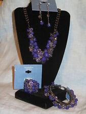 SIMPLY VERA WANG NWT $108 women's necklace ring earrings bracelet set purple