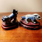 Chinese Lapis Lazuli Foo Dogs On Stands