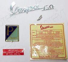 Vespa 150 Brass Sky Blue Piaggio Legshield Badge/Decal Sticker Set New