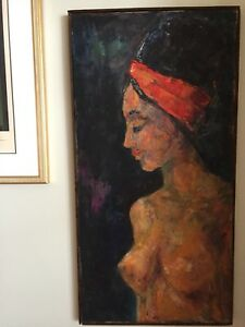 Vintage Oil painting on Canvas signed Hacker Size 19x36.5 Inches