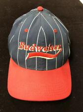 Vintage 90's Budweiser Pin Stripe Ball Cap Hat Snapback USA Made Blue Red