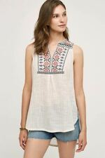 Anthropologie 8 Floreat Embroidered Top Petra Tunic Tank Blouse Boho Hi Low New