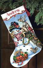 Cross Stitch Kit Gold Collection Snowman Gathering Christmas Stocking #70-08866