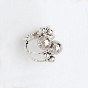 14k White Gold Filled Ring for Women, Triple Band with Balls, Vintage Style