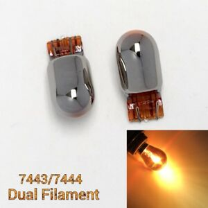 2X NO FADE Amber Chrome Bulb T20 7443 7444 21W/5W Front Signal Light for Toyota