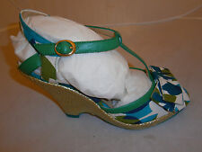Poetic Licence Behave Yourself Green Blue Womens Wedge Heels Shoes 7.5 weave