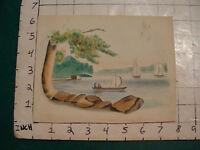 Original ART: folk art drawing & watercolor: boats on water w tree, rocks nice