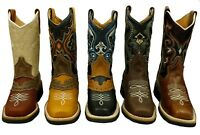 Youth Boys Cowboy Western Rodeo Genuine Leather Boots - Square Toe Best Quality