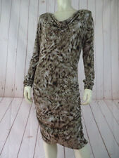 Michael Kors Dress M Leopard Print Poly Spandex Stretch Ruched Sides Fitted