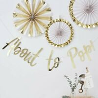 Gold About to Pop Bunting Banner Garland Oh Baby Shower Party Decorations 1.5m