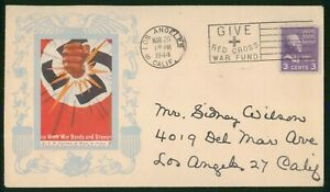 Mayfairstamps US 1944 Los Angeles Fist Through Symbol Red Cross Cover wwp_92959