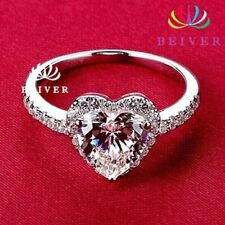 Cut Cubic Zirconia Wedding/Engagement Ring Women's White Gold Filled Heart Shape